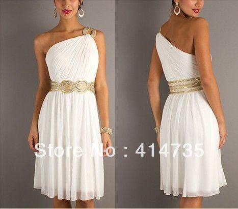 White Grecian One Shoulder Dress