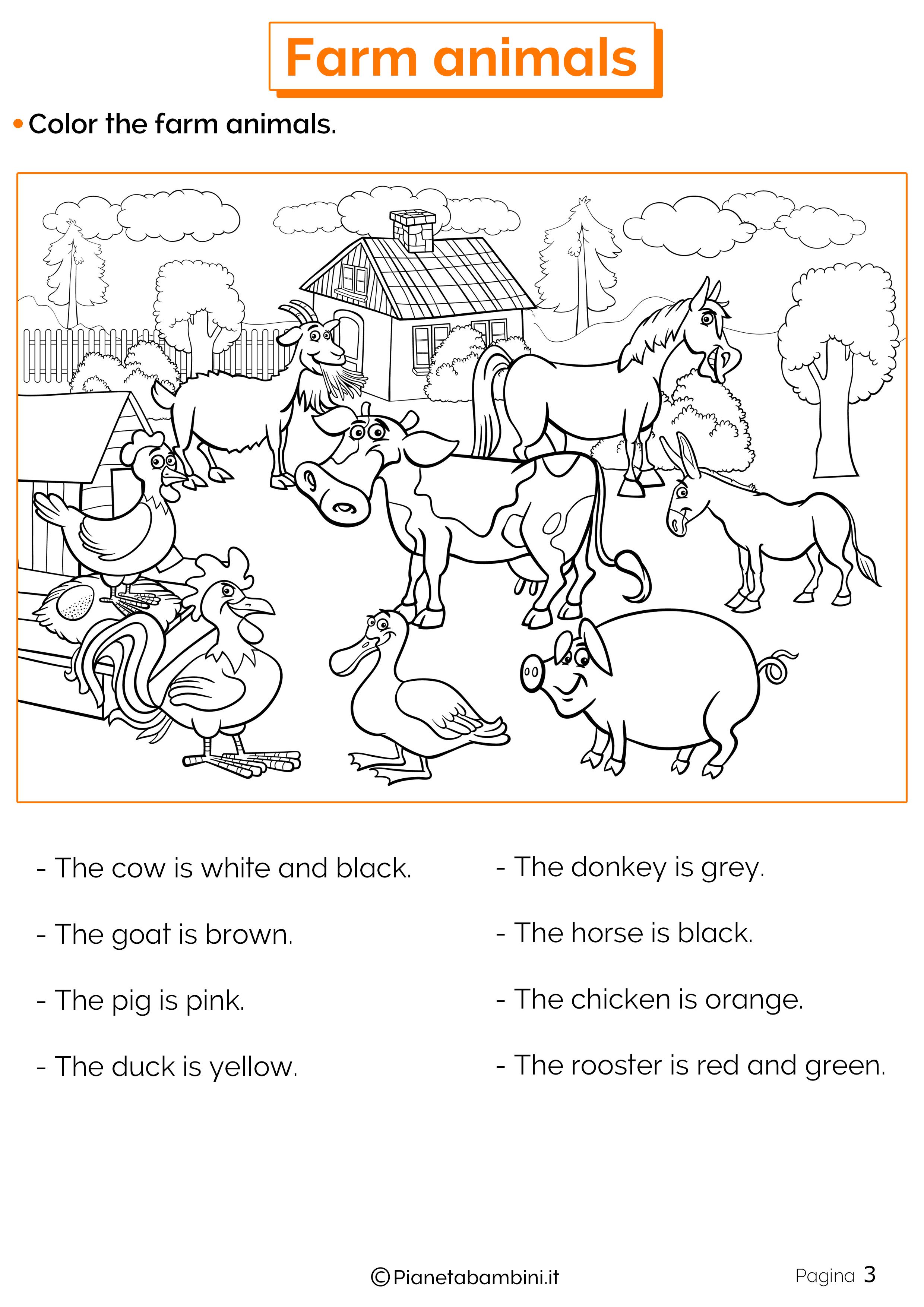 Animali Della Fattoria In Inglese Esercizi Per La Scuola
