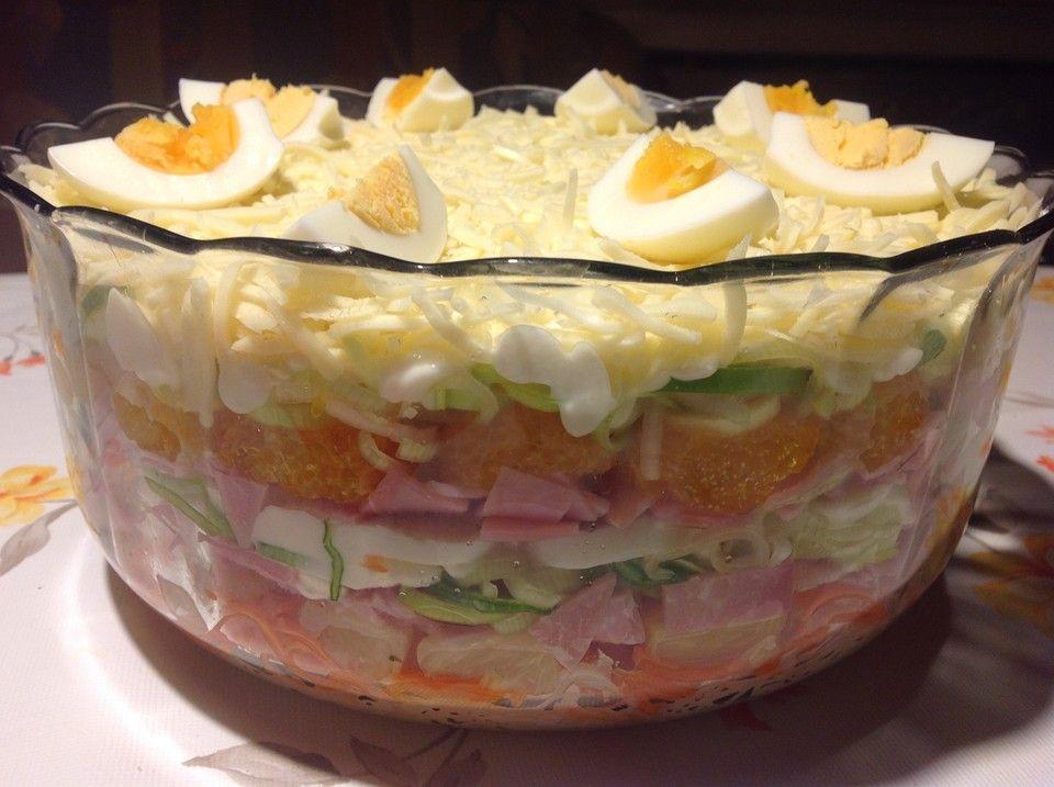 24 stunden schichtsalat mit ananas und mandarinen partyrezepte pinterest salat. Black Bedroom Furniture Sets. Home Design Ideas