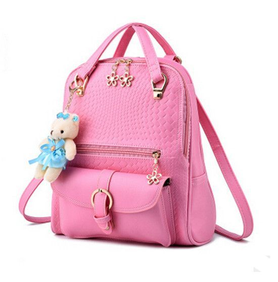 6cdbbe0a76 DIDA BEAR Women Backpacks Bolsas Mochila PU Leather Solid Candy Colors Girls  School Bags Femme Sac A Dos Black Beige Pink Blue