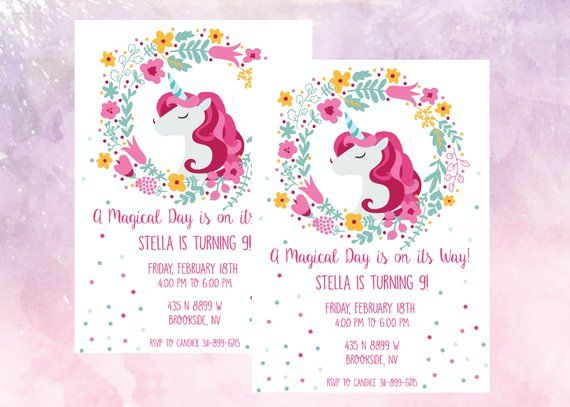 Unicorn Birthday Party Invitation Magical Celebration 9 Year Old Little Girl Invite Pr