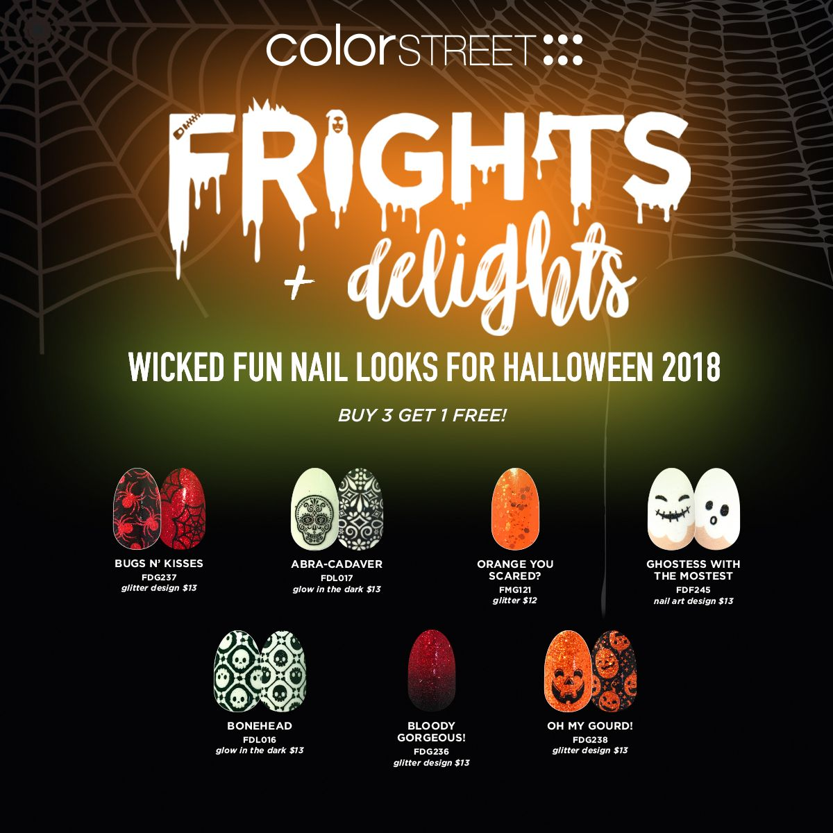 Halloween Nail Art Designs From Color Street Baretopolished Color Street Halloween Nails Fun Nails