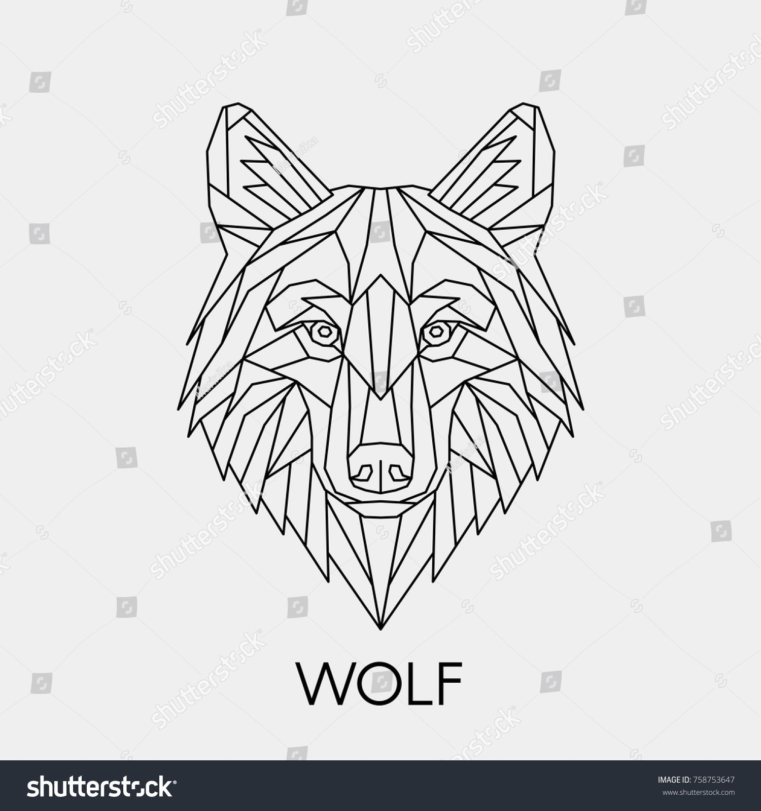 Vector. Polygonal geometric wolf head. Abstract linear ...