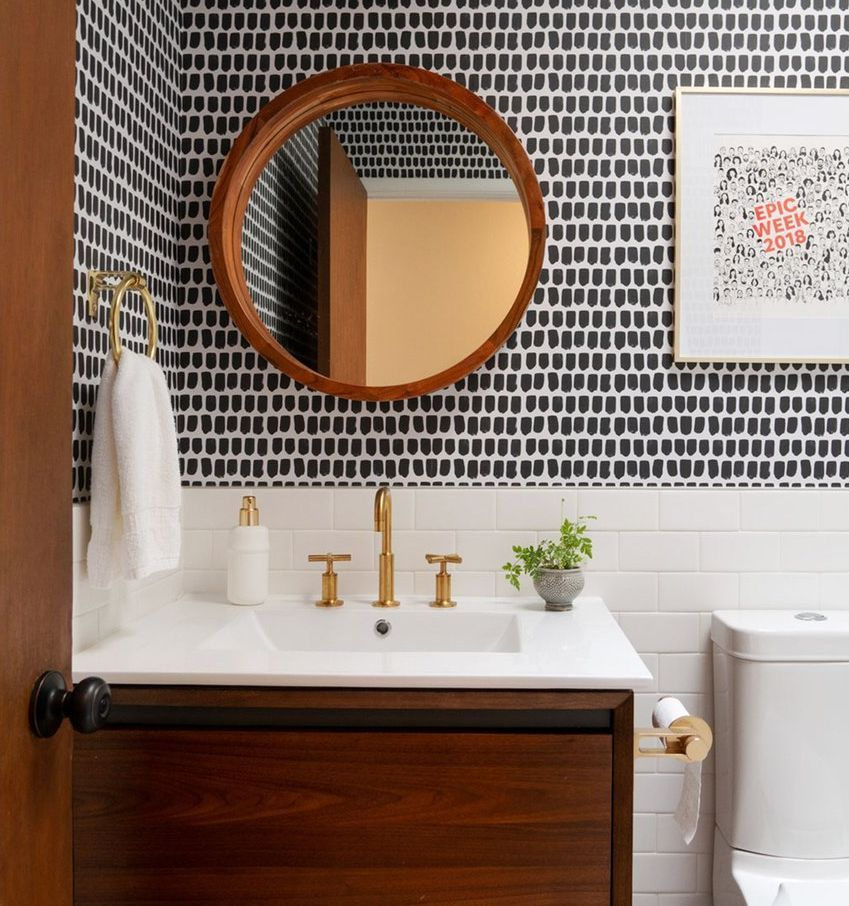 Best Powder Room Tips For Function And Style Bathroom Wallpaper Modern Modern Powder Rooms Bathroom Interior Design