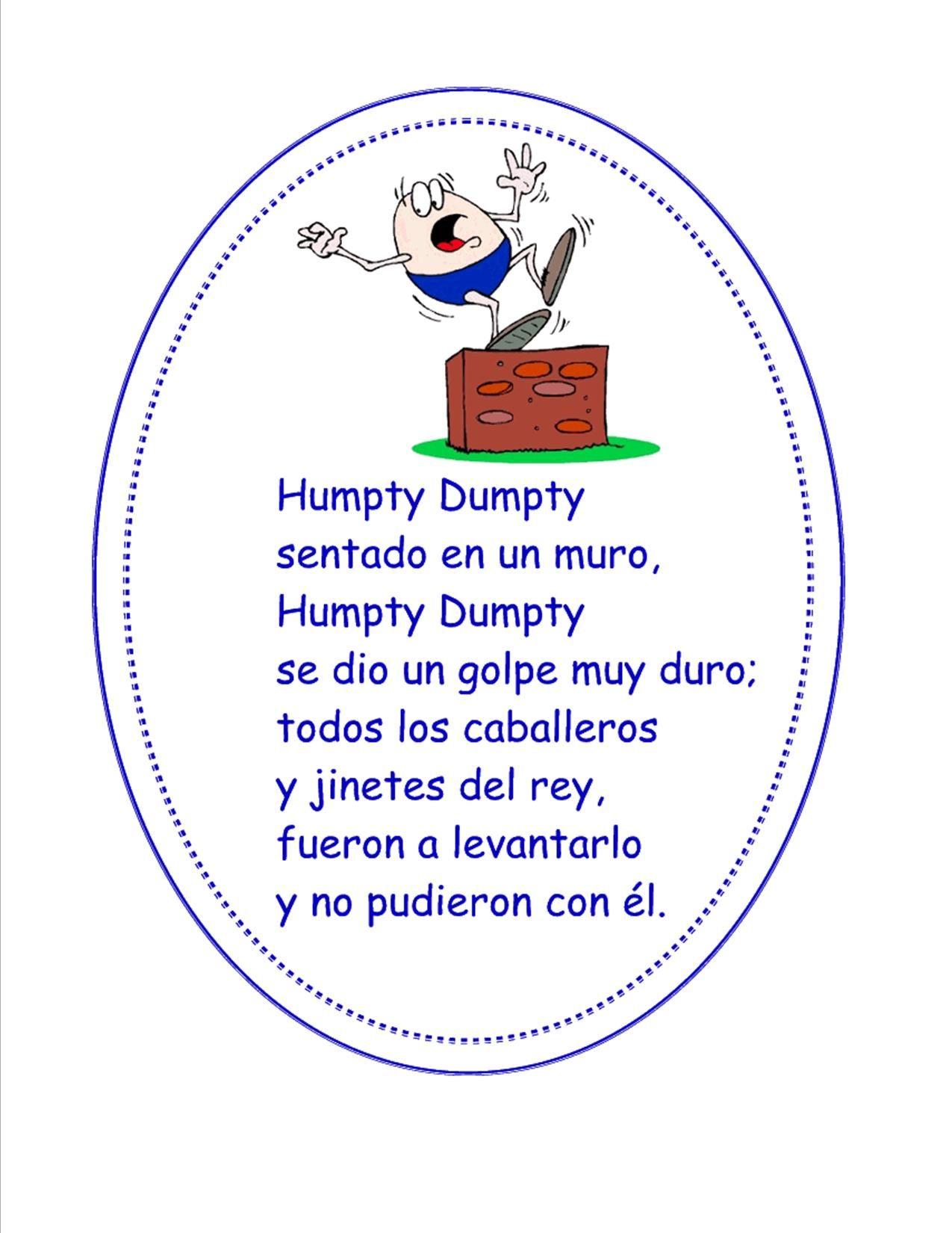 Humpty Dumpty Spanish Pre K Activities Pinterest Spanish Dual
