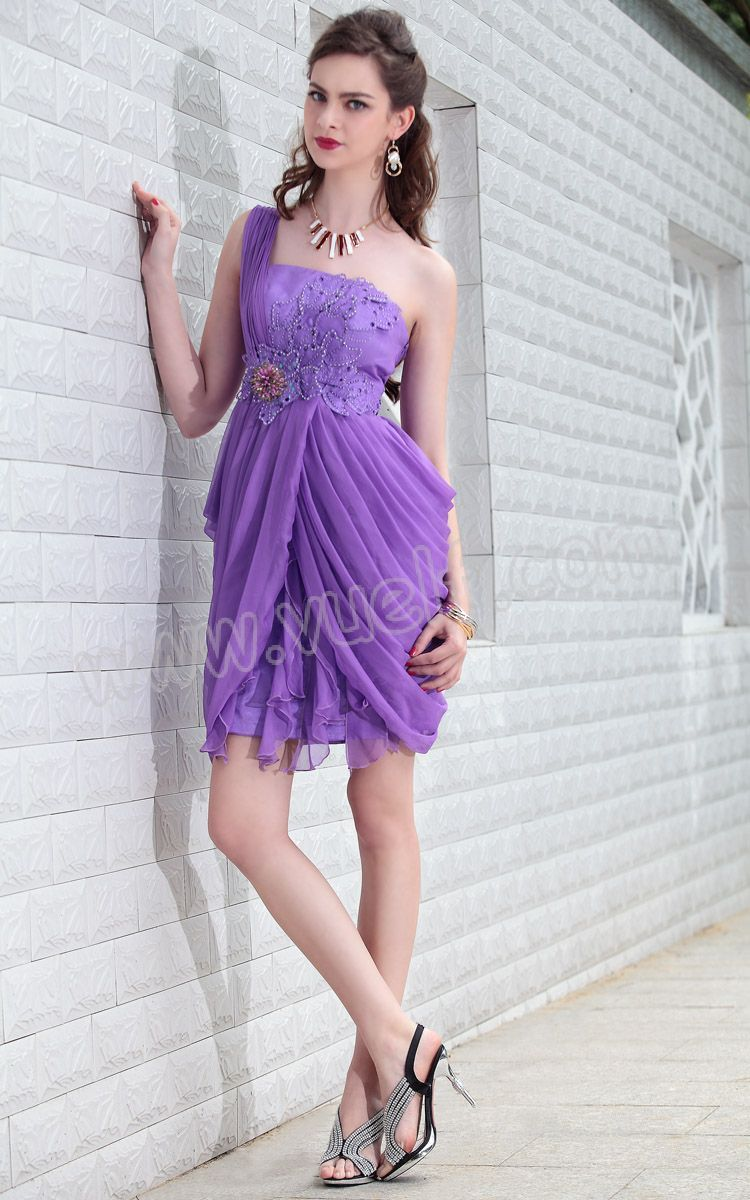 Flower one shoulder short purple prom dress purple prom dresses