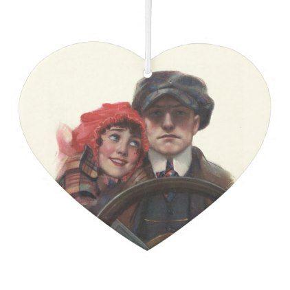 Classic car vintage romantic winter illustration air freshener | Zazzle.com