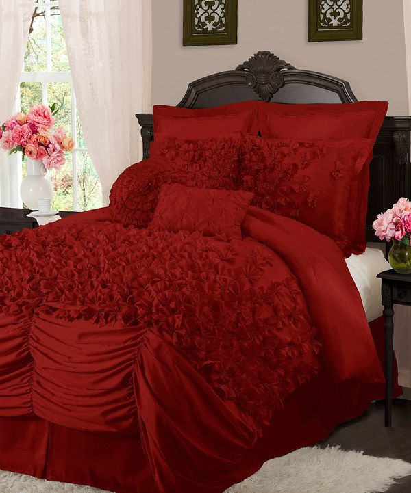 Another great find on #zulily! Red Lucia Comforter Set by Lush Décor #zulilyfinds