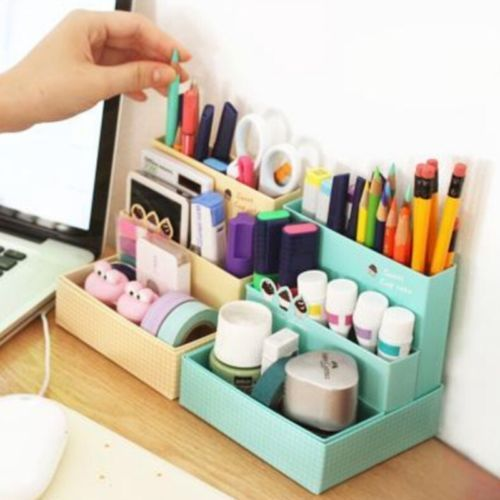 Details over DIY Paper Board Storage Box Desk Decor Stationery Makeup Cosmetic Case Organizer images