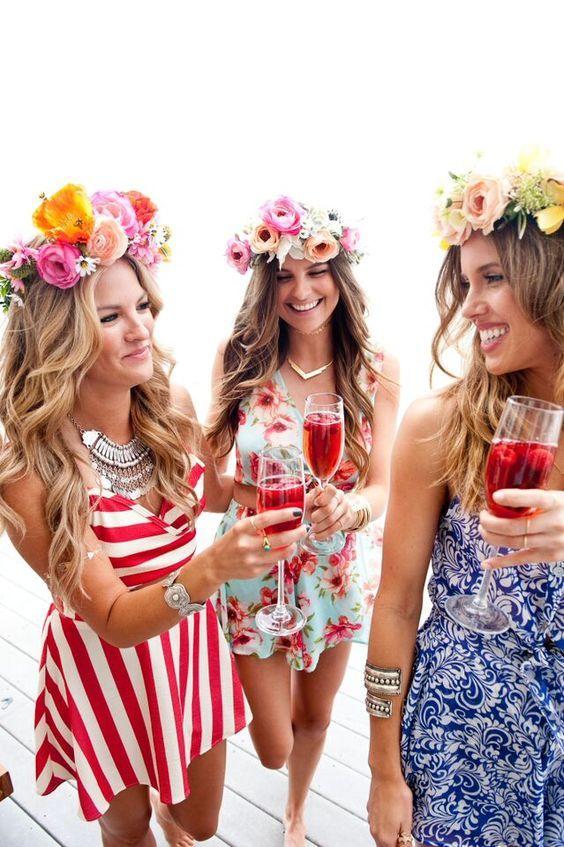 flower crown bachelorette party girls in sun dresses b38b135f737