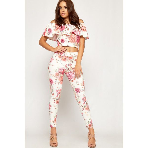 WearAll Floral Layered Crop Top Leggings Co-Ord ($35) ❤ liked on Polyvore featuring pink
