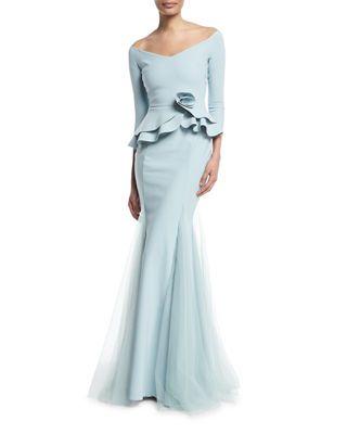 3df37d419c15ed Chiara Boni La Petite Robe Reo Lady Peplum Godet Mermaid Gown in ...