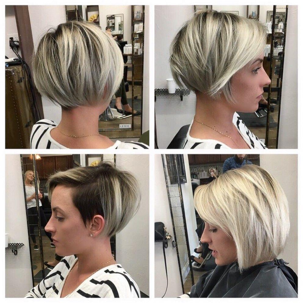 Bob Hairstyle Undercut Blonde Balayage Bob Pixie Bob Haircut Blonde Pixie Hair