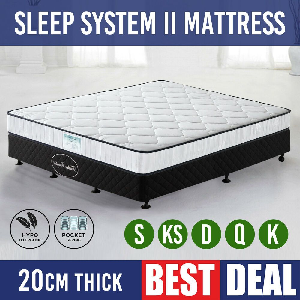 Mattress King Queen Double Single Size Bed Sleep System Pocket