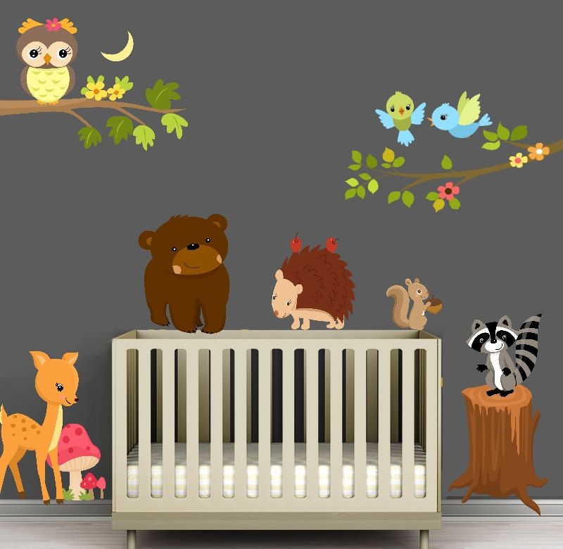 OH YEA ; FOREST ANIMALS Reusable Forest Animal Nursery Scene with Branches - Fabric Wall Decal - Sized to Fit any wall. $80.00 via Etsy.  sc 1 st  Pinterest : forest animals nursery wall decals - www.pureclipart.com