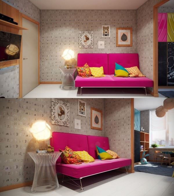 Kids Bedroom Inspiring Room Design Bright And Colourful With Artistic Features Whimsical Playroom For Young S Pink Pillows