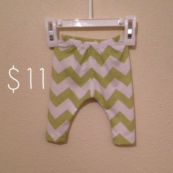 Handmade white and green chevron baby leggings available in any size from newborn- 3T, unisex baby leggings, cute baby leggings on Etsy, £6.98