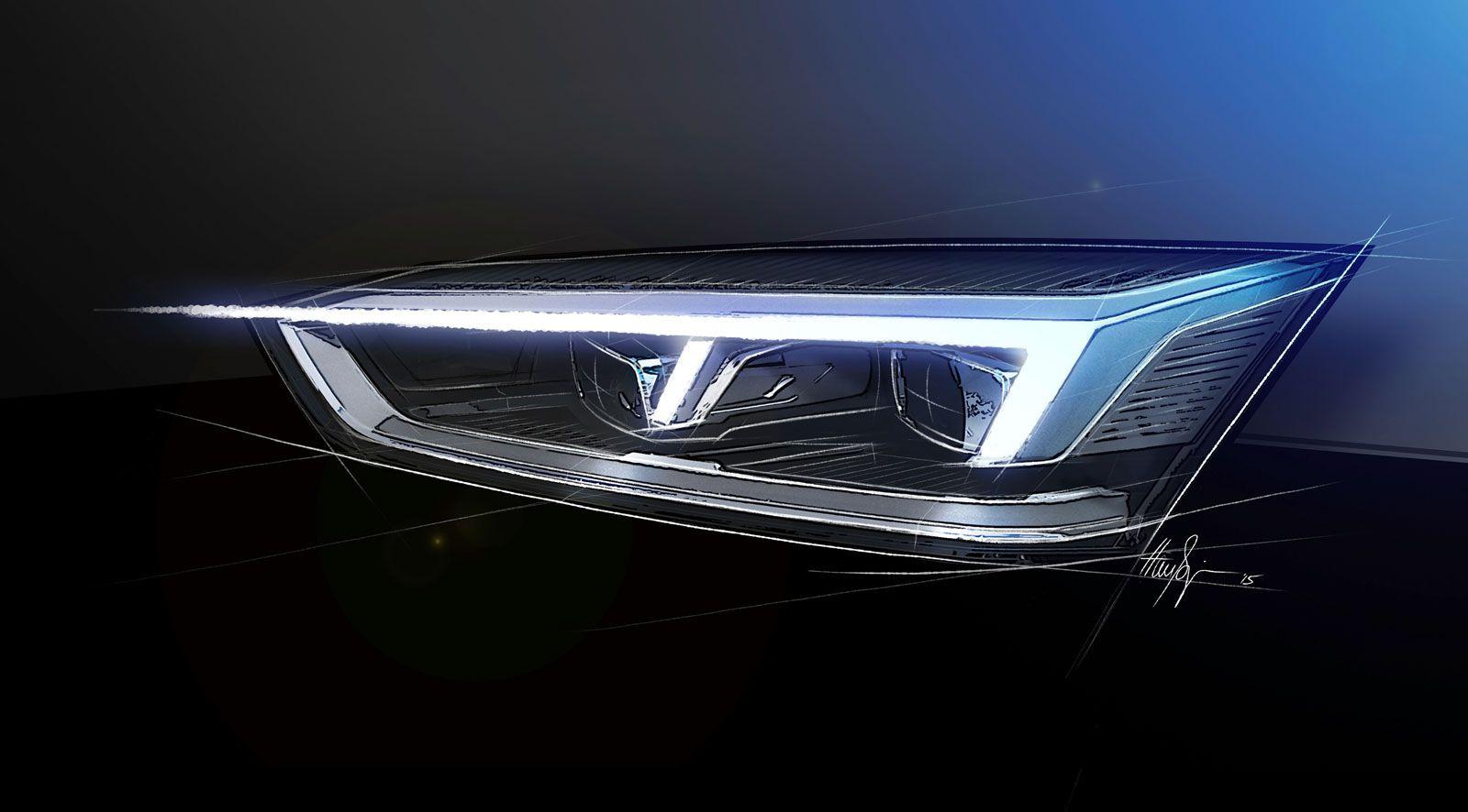 Audi A5 Coupe Headlight Design Sketch Render Headlamp Design