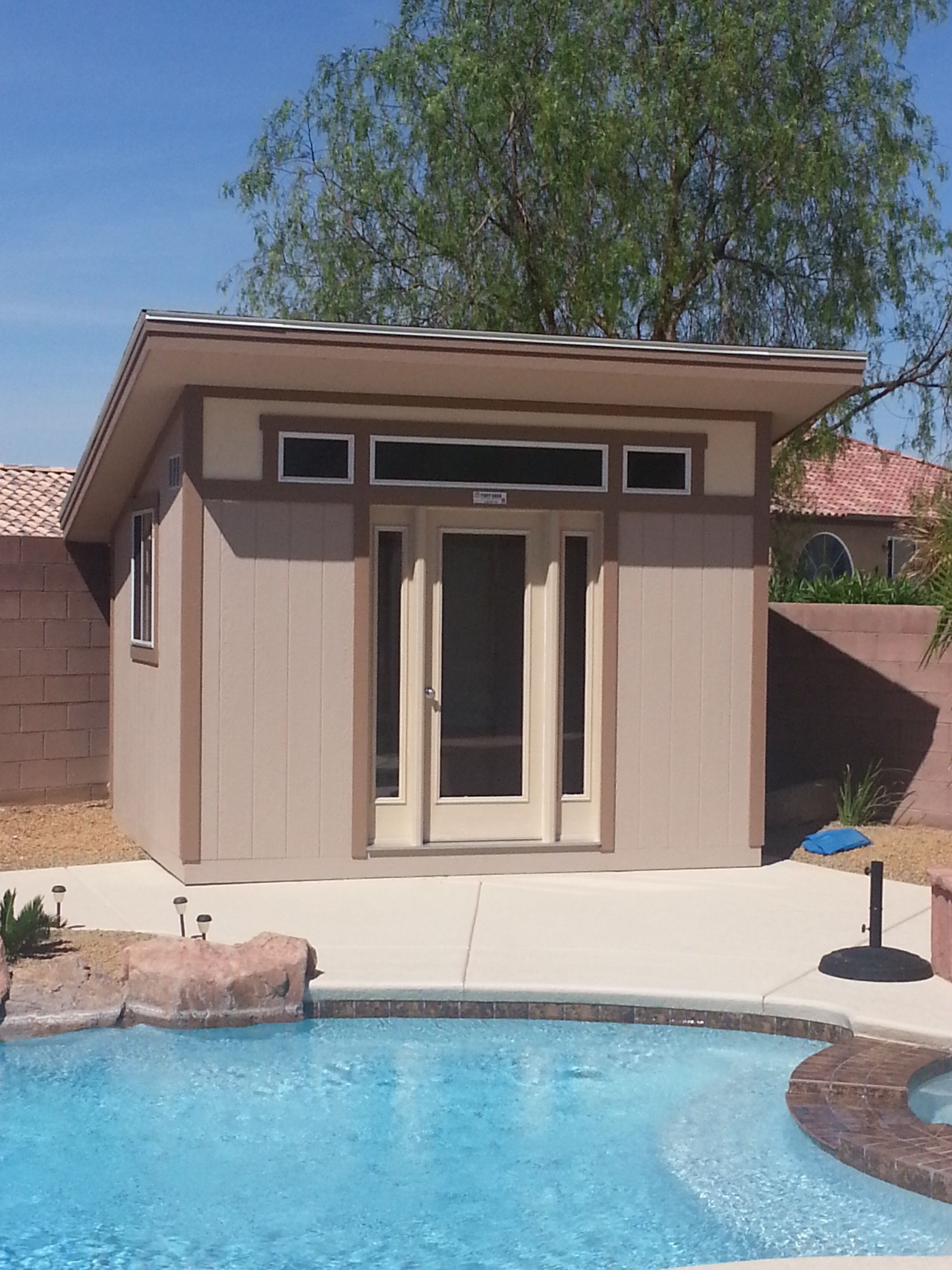 the perfect pool house storage and style to finish off your