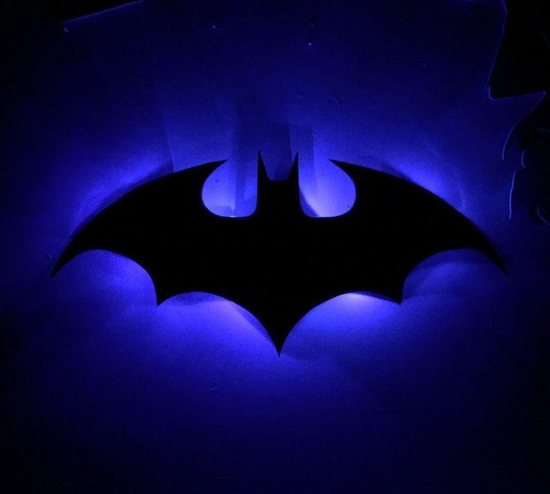 Classic Illuminated Batman Bat Signal Sign Image 5 Neon Art Batman Wallpaper Superhero Decorations
