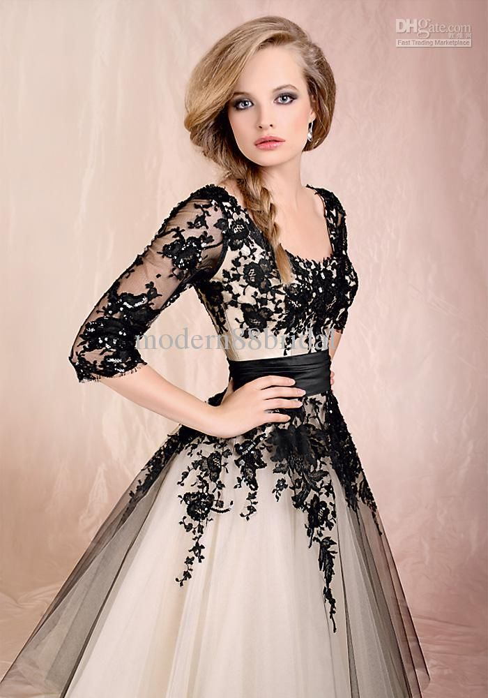 Wholesale Ball Gown Wedding Dresses - Buy Cheap In Stock Black Scoop Appliques Ball Gown Sash 3 4 Sleeves Floor Length Tulle Lace Wedding Dresses Bridal Gowns New 2013, $87.54 | DHgate