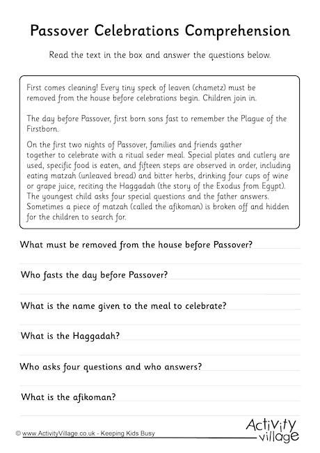 Passover Celebrations Comprehension Worksheet. Click through to the website for the printable.