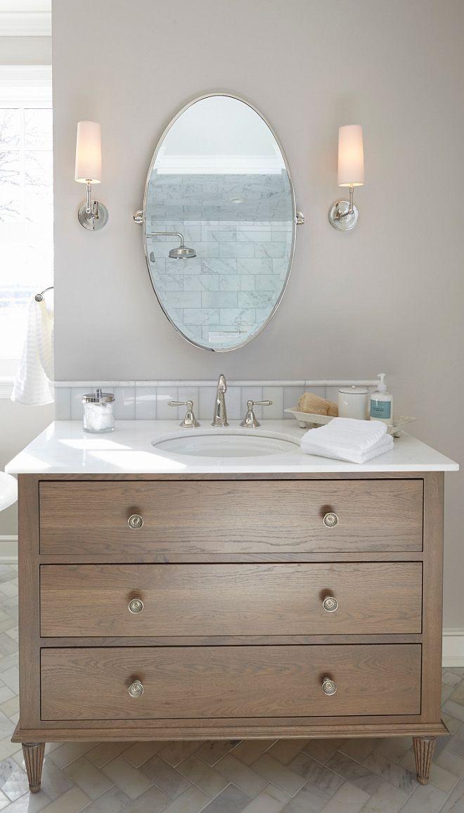 Timber Vanity Oval Mirror Sconces Elegant Bathroom Bathroom
