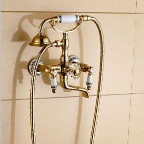 Luxury Wall Mount Gold Finish Rotating Clawfoot Bathtub Faucet With
