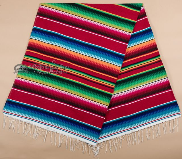 Southwestern Mexican Serape Blanket 5'x7' -Red (s1 ...