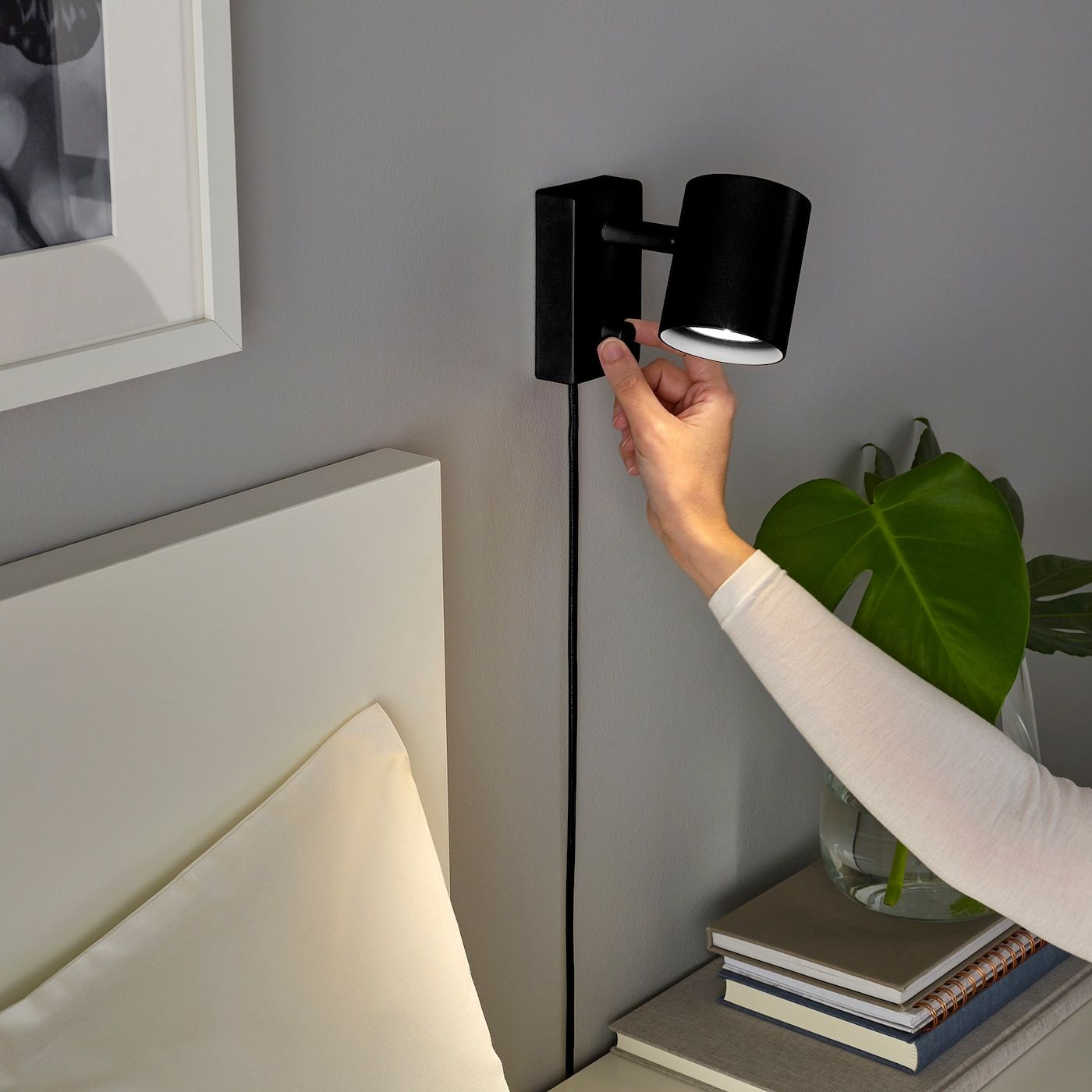 NYMÅNE Wall/reading lamp with LED bulb, anthracite IKEA