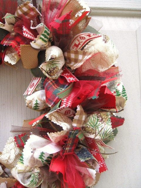 Christmas Door Wreaths - Holiday Wreath - Christmas Wreath - Fabric