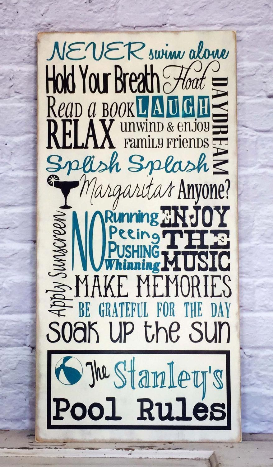 Pool Rules Sign Personalized Family Pool Rules Sign Swimming Pool Sign Pool House Sign By Madikaydesigns On Pool Rules Sign Swimming Pool Signs Pool Signs