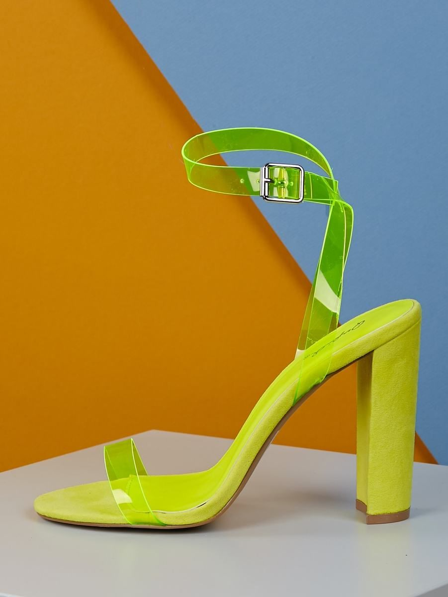b8aa1f1f6ab Neon Yellow Clear Band Ankle Strap Heels in 2019