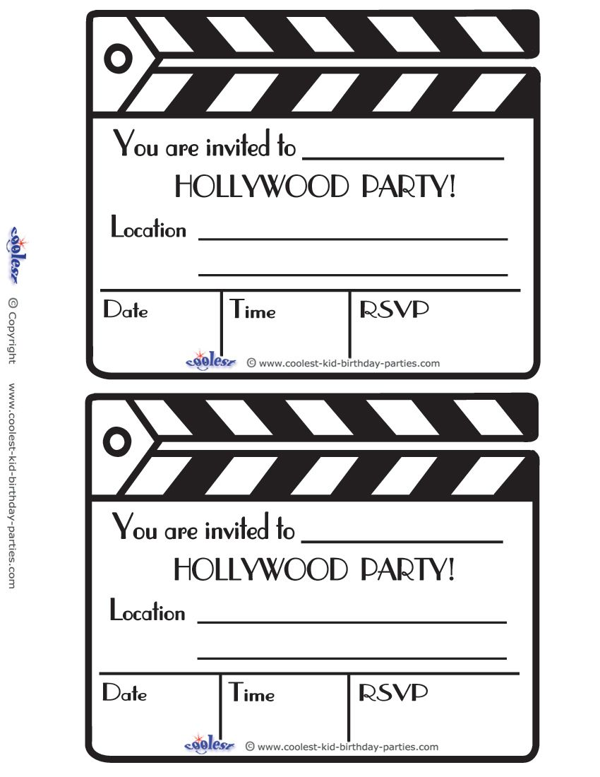 Printable Hollywood Invitations