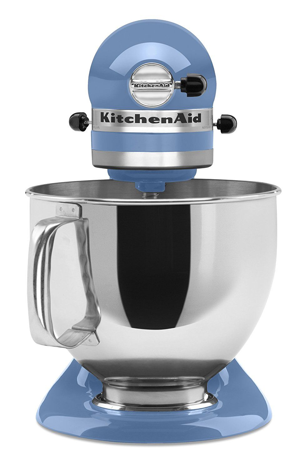 Front view of a cornflower blue mixer from the popular Artisan ...