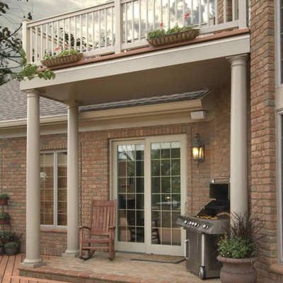 deck above covered entrance porch design ideas archadeck front