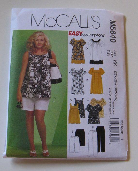 McCall's M5640 Size KK Sewing Pattern Plus-Size Shorts Tops