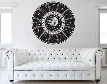 Zodiac Wheel Zodiac Wall Decor Horoscope Astrology Art Wiccan Wall Decal Moon And Sun Moon A Wall Decals Living Room Wall Decals For Bedroom Moon Decor
