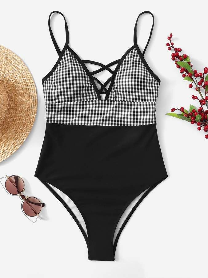 df29cd3bc5ec9 Shein Gingham Criss Cross One Piece Swimwear in 2019 | Products ...