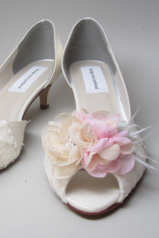 Zapatos De Boda De Encaje Tacones Gatito Saten Marfil Con Ivory Bridal Shoes Wedding Shoes Heels Kitten Heel Wedding Shoes