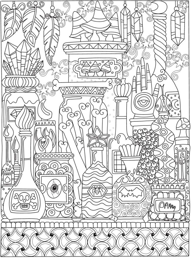 - Creative Haven Eerie Entangled Art Coloring Book Dover Publications  Witch Coloring Pages, Pattern Coloring Pages, Coloring Books