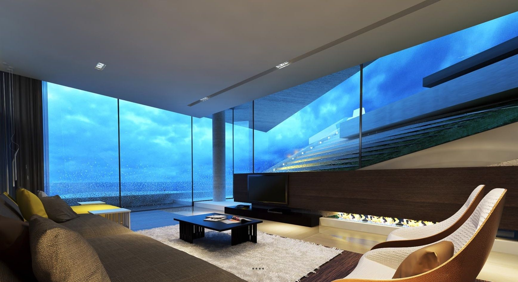 Beau Surrounding By Glass And Stunning Views, The Last Thing This Ultra Modern  Living Room Needs Is The Obligatory Television.