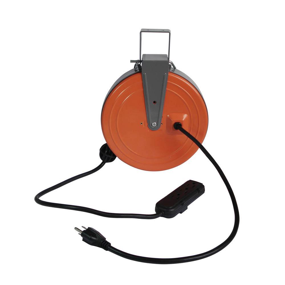 30 Ft 16 3 Gauge 3 Outlet Retractable Reel Extension Cord