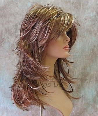 Long Wig Choppy Layers Lots Of Motion 3 Tone Auburn Strawberry Blond Womens Wigs Hair Styles Long Hair Styles Haircuts For Long Hair