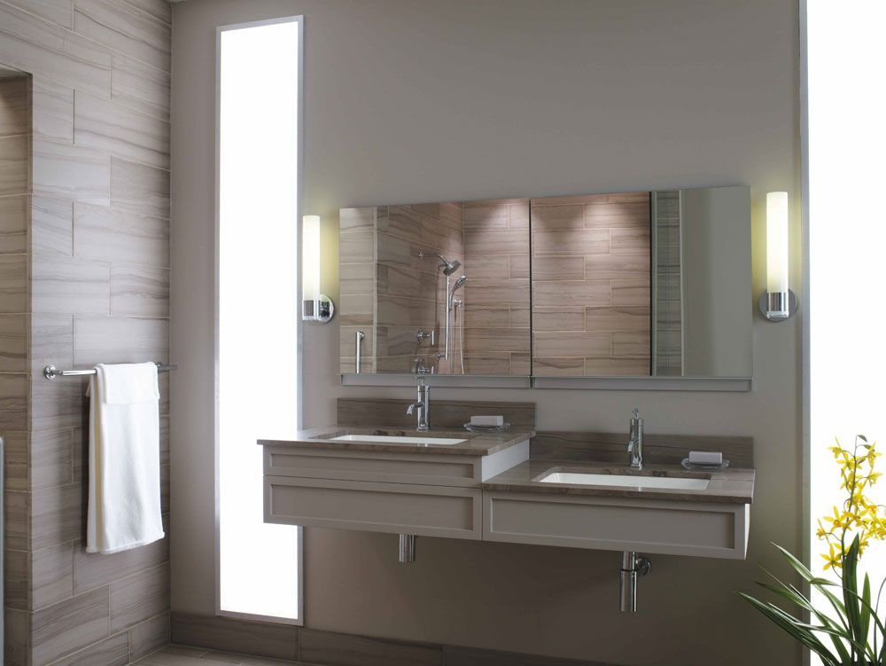 Sinks Built At Different Heights For Both A Person In A Wheelchair And Someone Using The Sink Standing Up Accessible Bathroom Design Sink Design Ada Bathroom
