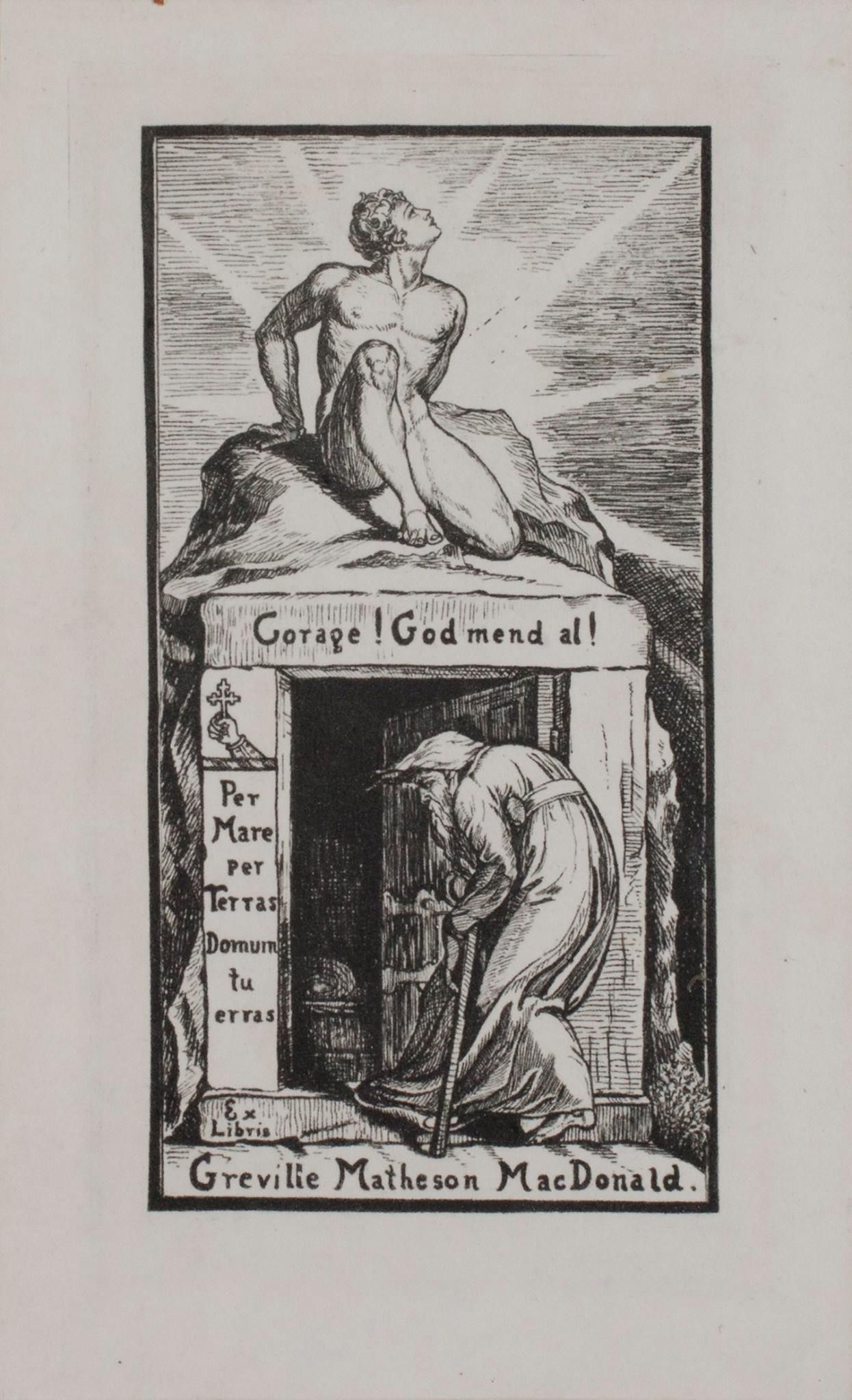 """Greville Matheson MacDonald (1856-1944) was the eldest son of novelist and poet George Macdonald. His bookplate imitates his father's, which was based on an engraving by William Blake. We read: 'Corage! God mend al', an anagram of his father's name and 'Per Mare, per Terras, Domum tu erras', Through the sea, through the lands, you wander homeward. The bookplate occurs in a 1651 edition of Jacob Böhme's """"De signatura rerum, or the signature of all things"""", printed in London…"""