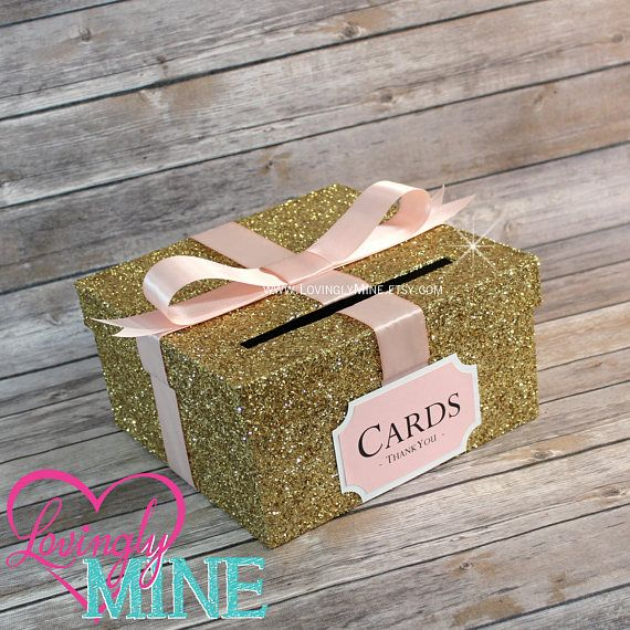 Card Box Glitter Gold Blush Pink White Gift Money Box For Any