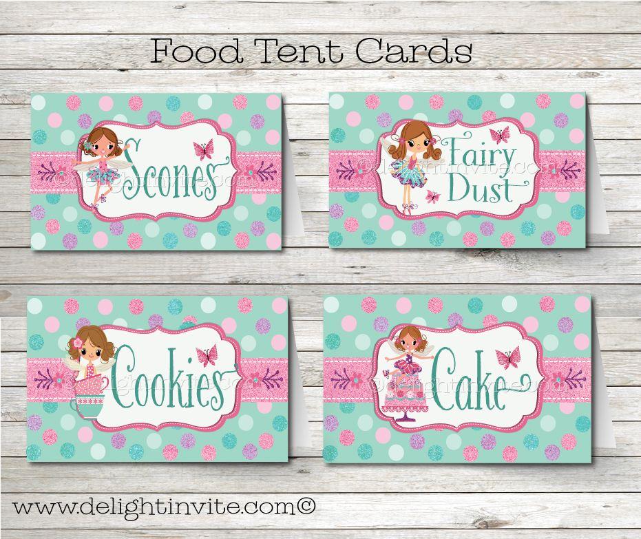 Tea Party Fairy Food Tent Cards   Beautiful Fairy Tea Party Birthday ...