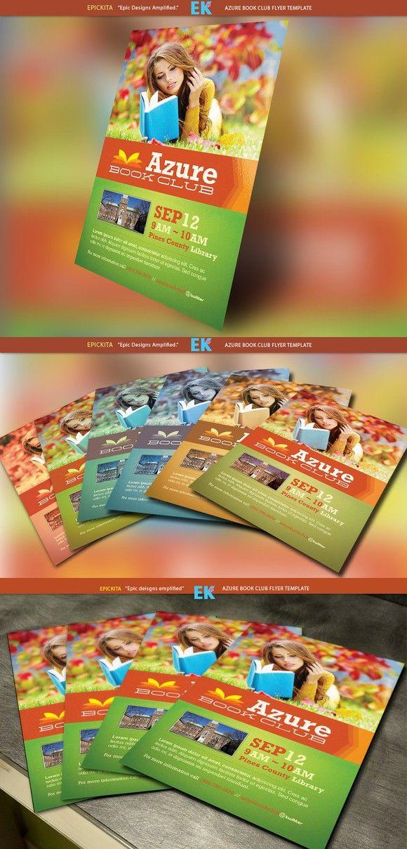 Azure Flyer Template | Azure Book Club Flyer Template
