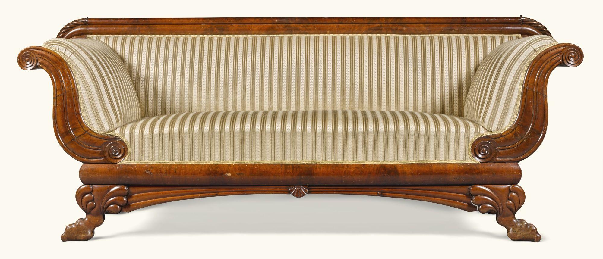 C1820 A North German Biedermeier Mahogany Sofa Circa 1820 Estimate 1 500 2 000 Gbp 1 841 2 454us Biedermeier Furniture Wooden Sofa Wooden Sofa Designs
